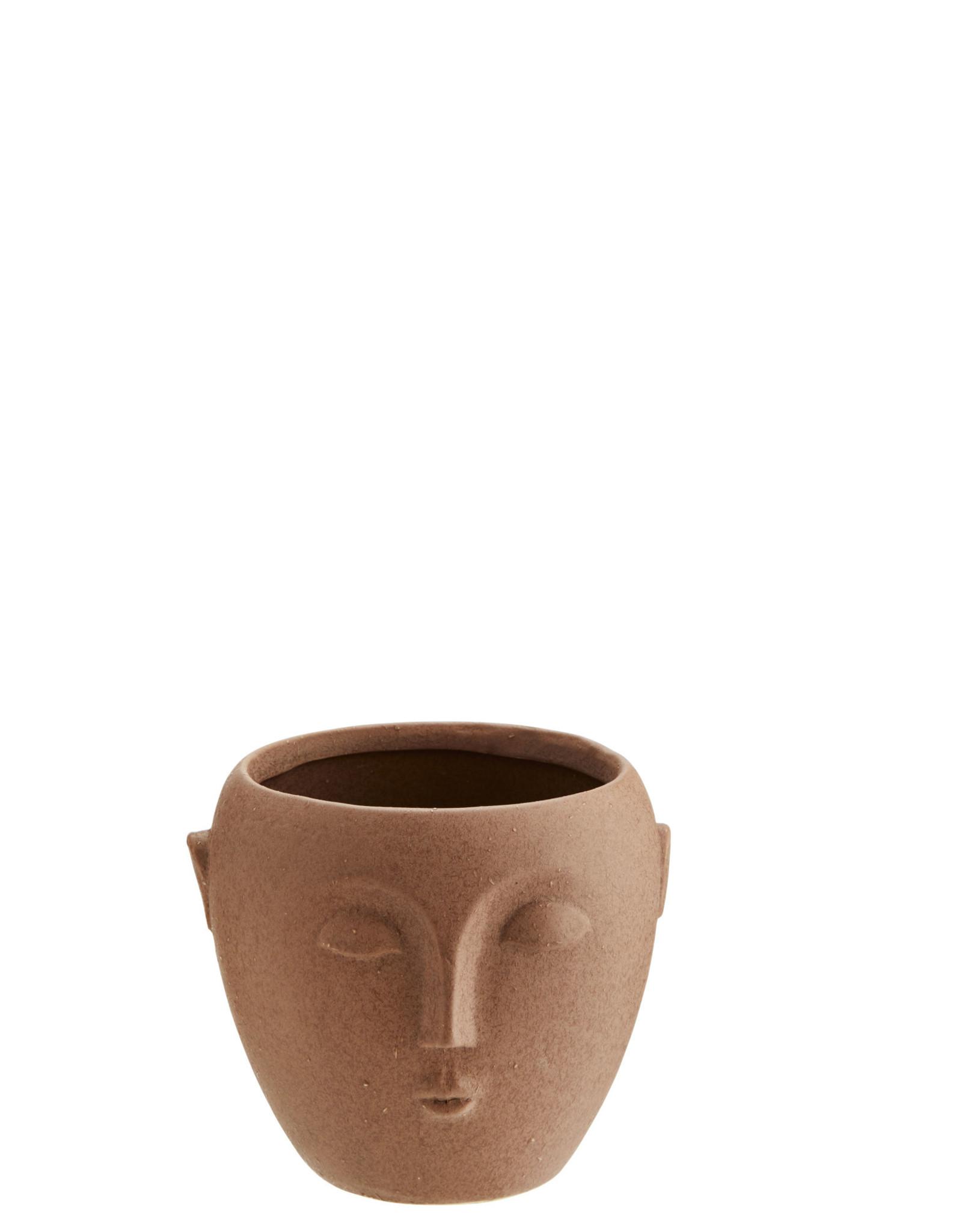 Madam Stoltz Flower pot w/ face - Red/Brown ∅8,5 cm