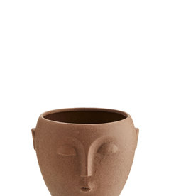 Madam Stoltz Flower pot w/ face - Red/Brown ∅10,5
