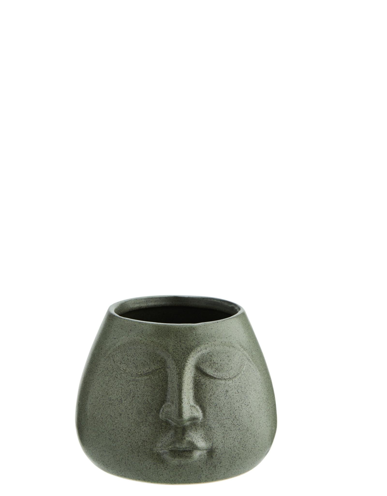 Madam Stoltz Flower pot w/ face - Green ∅8