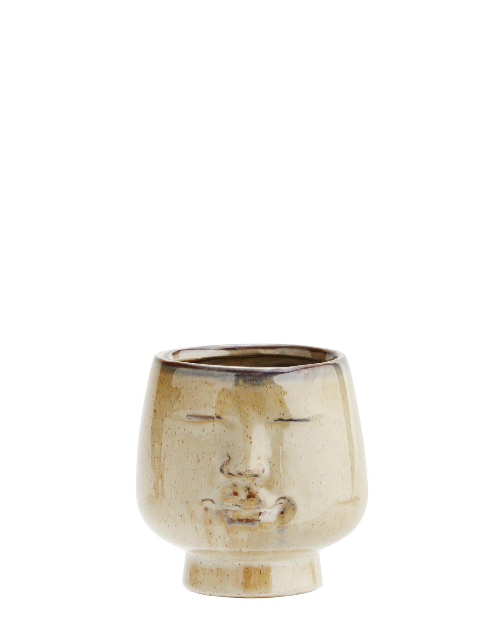 Madam Stoltz Flower pot w/ face - Creme ∅8 cm