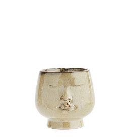 Madam Stoltz Flower pot w/ face - Creme ∅10 cm