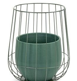serax Pot in cage ∅37 - Green