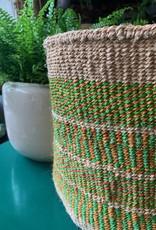Solid Crafts Hadithi Basket L -  green & orange stripes