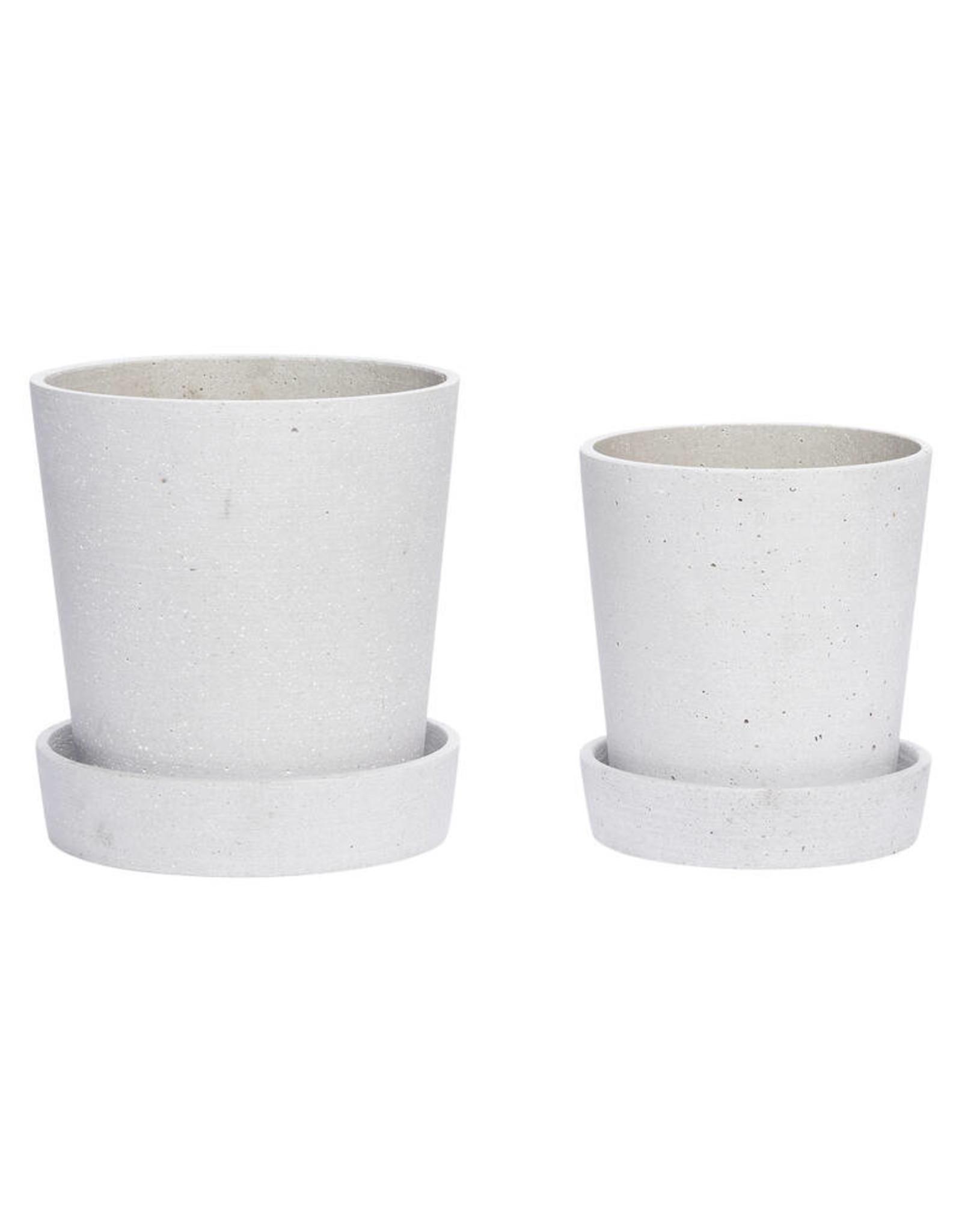 Hübsch Grey pot w/saucer ø14xh16
