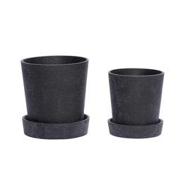 Hübsch Black pot w/saucer ø17xh19