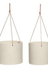 Hübsch Ceramic pot w/leather strap - Sand ø20xh16
