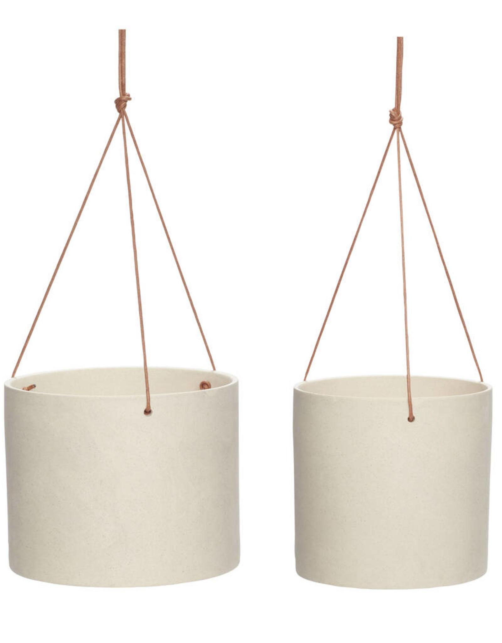 Hübsch Ceramic pot w/leather strap - Sand ø17xh16