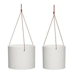 Hübsch Ceramic pot w/leather strap - White ø20xh16