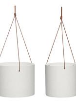 Hübsch Ceramic pot w/leather strap - White ø17xh16