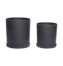 Hübsch Black Pot w/saucer  ø30xh33