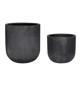 Hübsch Fiberstone Pot - Black ø33xh31