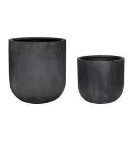 Hübsch Fiberstone Pot - Black ø40xh44