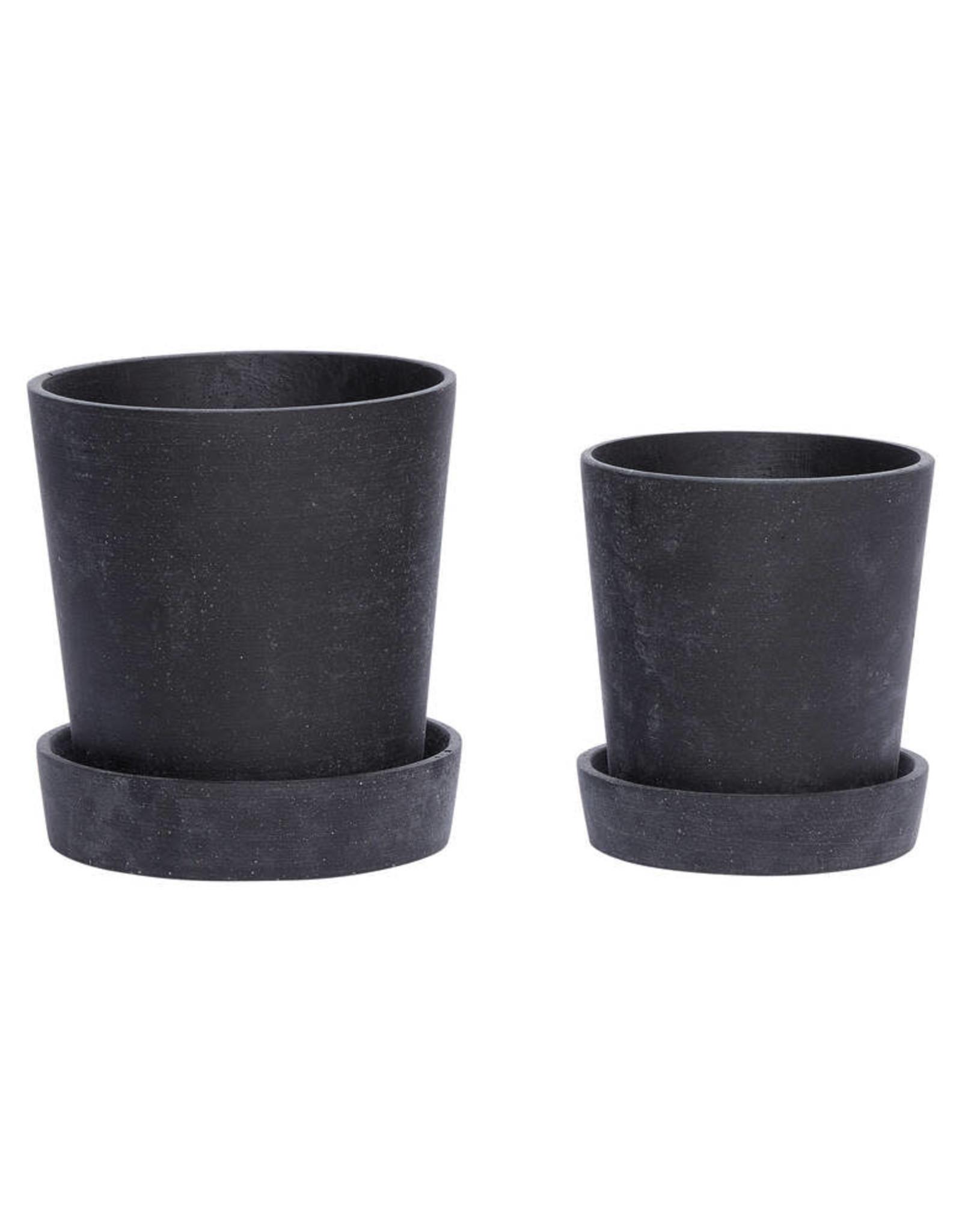Hübsch Black pot w/saucer ø14xh16