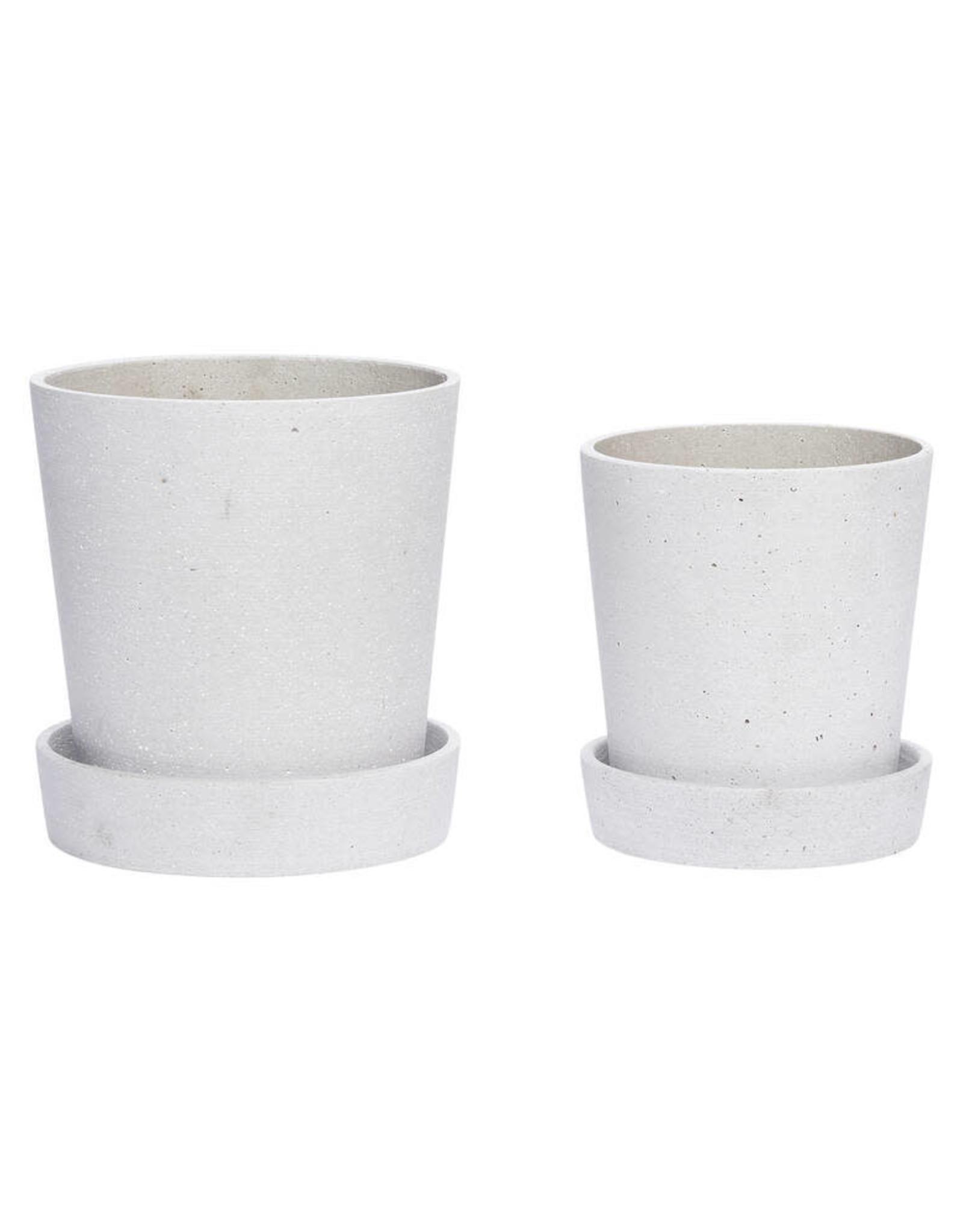 Hübsch Grey pot w/saucer ø17xh19