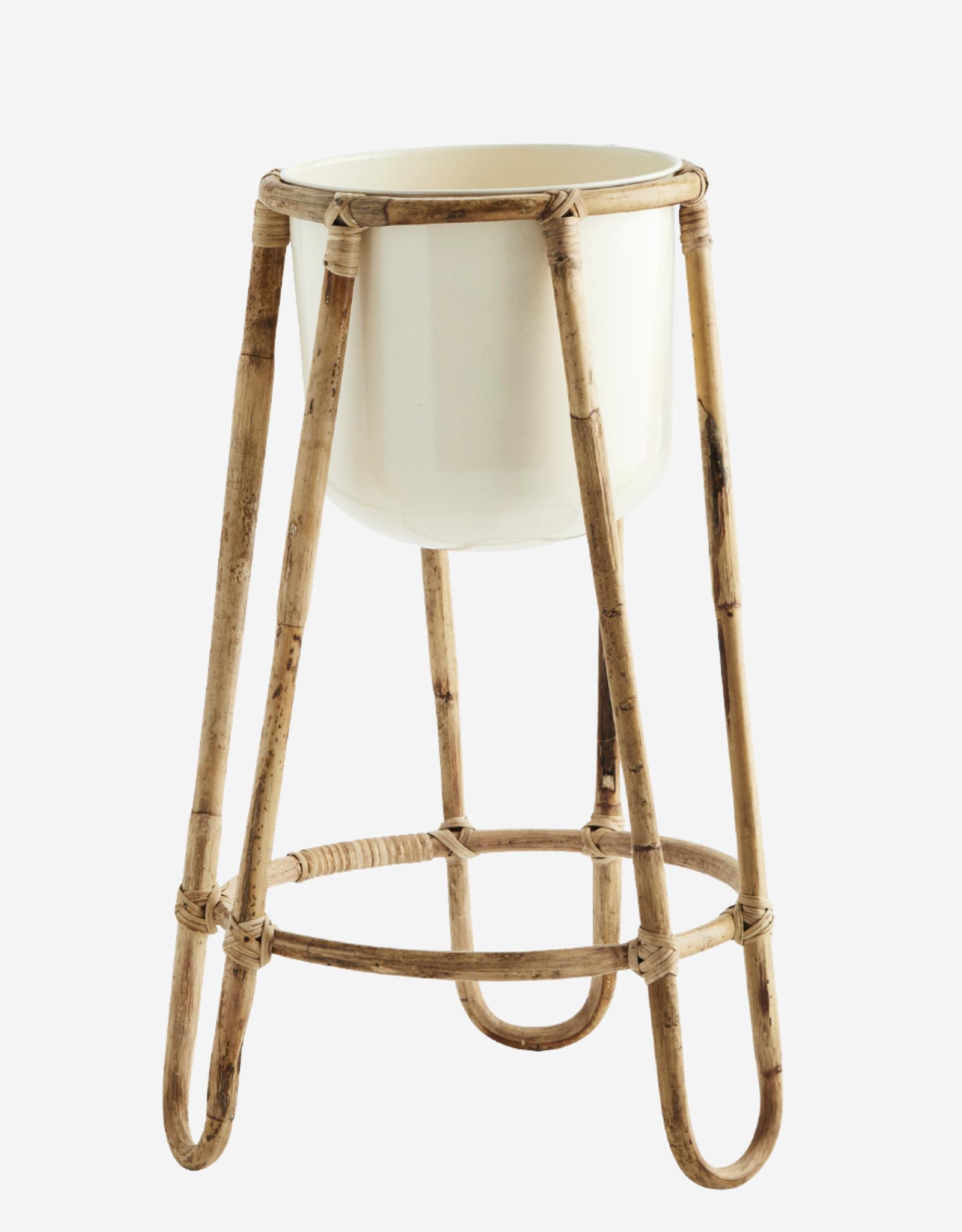 Madam Stoltz Iron flower pot w/ bamboo - ∅23,5 h47