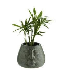 Madam Stoltz Flower pot w/ face - Green ∅6
