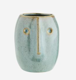 Madam Stoltz Flower pot w/ face imprint Ø5.5 h10 cm - light green