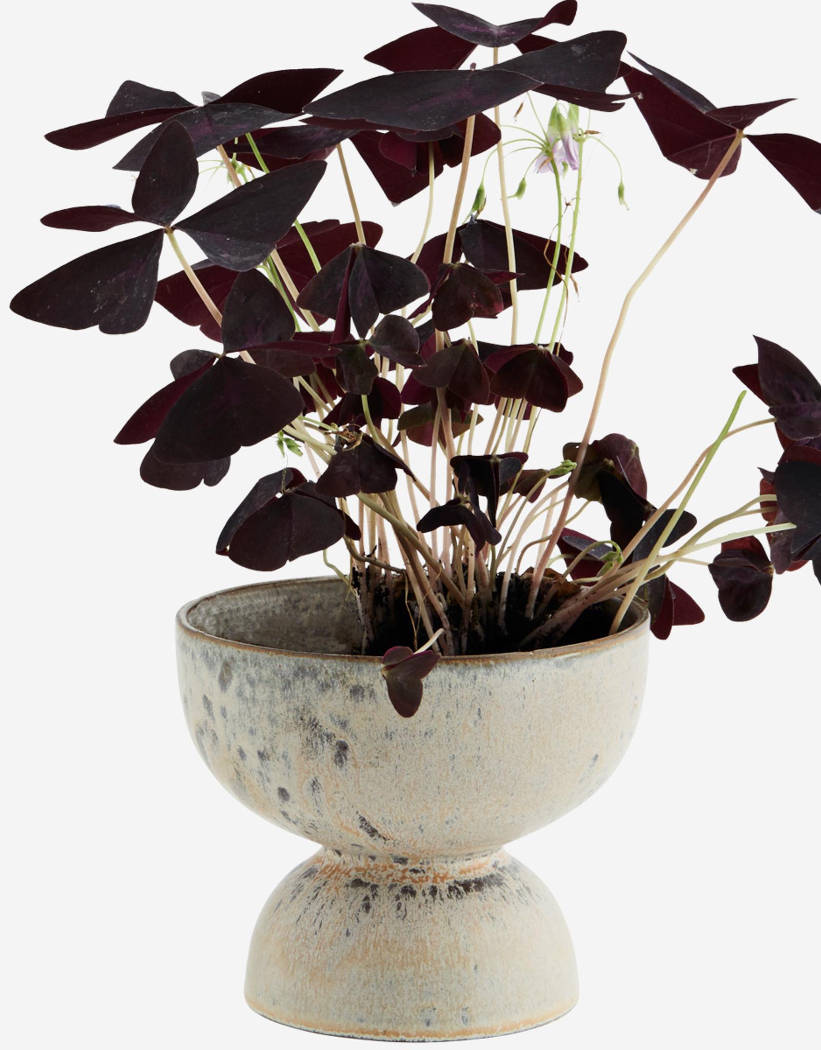 Madam Stoltz Flowerpot Ø13 cm - grey/cream