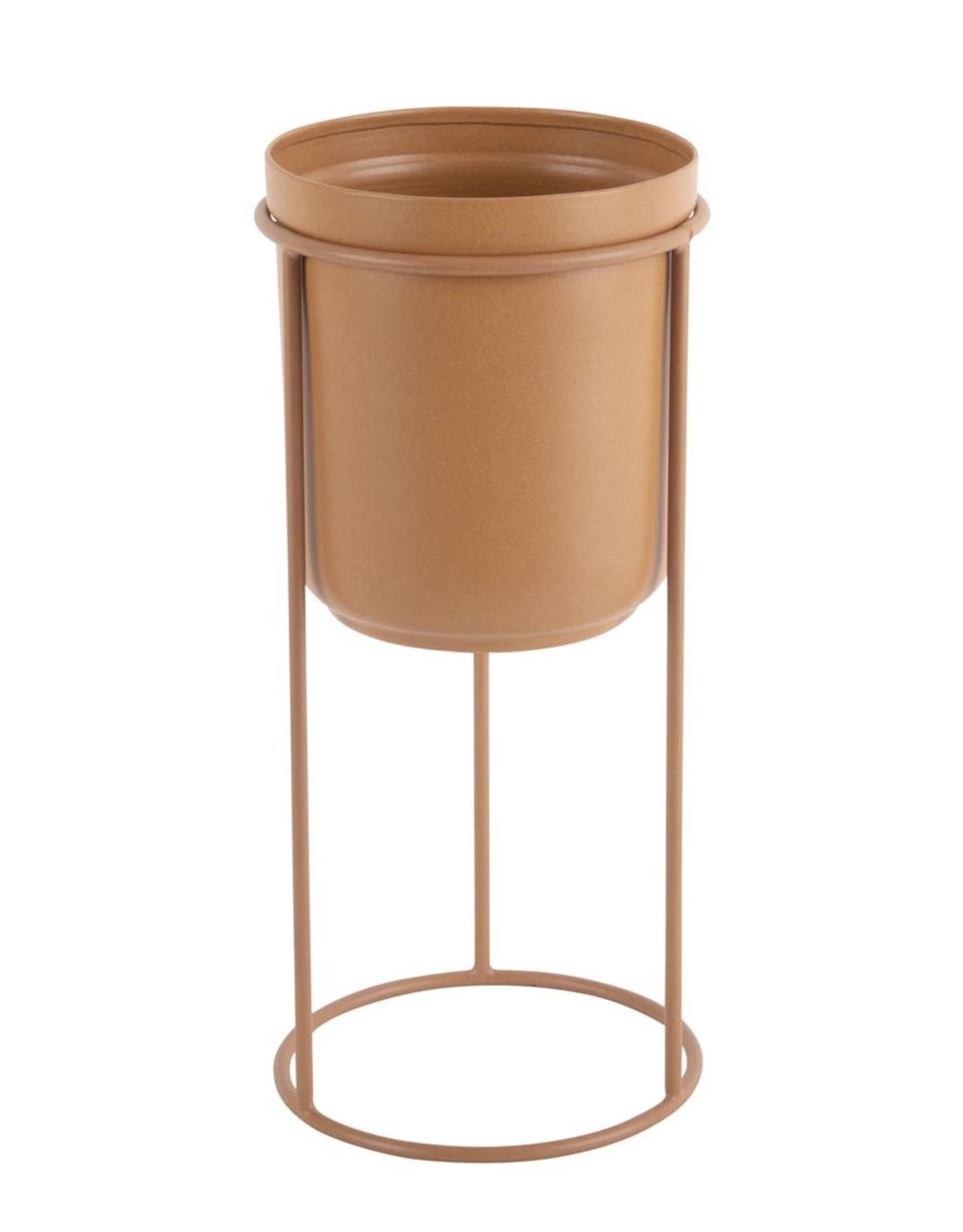 pt Tub on stand Ø17 h19 cm (total h32 cm) - Caramel brown