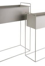 pt Iron planter on stand L [straight] 51 x 24 x 65cm- Warm grey