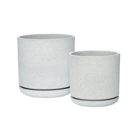 Hübsch Pot w/hole, fiberstone, grey ø28 x h29 cm