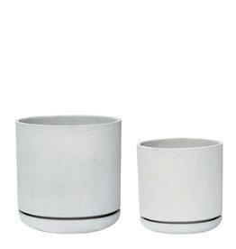 Hübsch Pot w/hole, fiberstone, grey ø35 x h36 cm