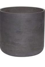 Hübsch Bloempot met drainage gat, cement, zwart ø25xh24cm