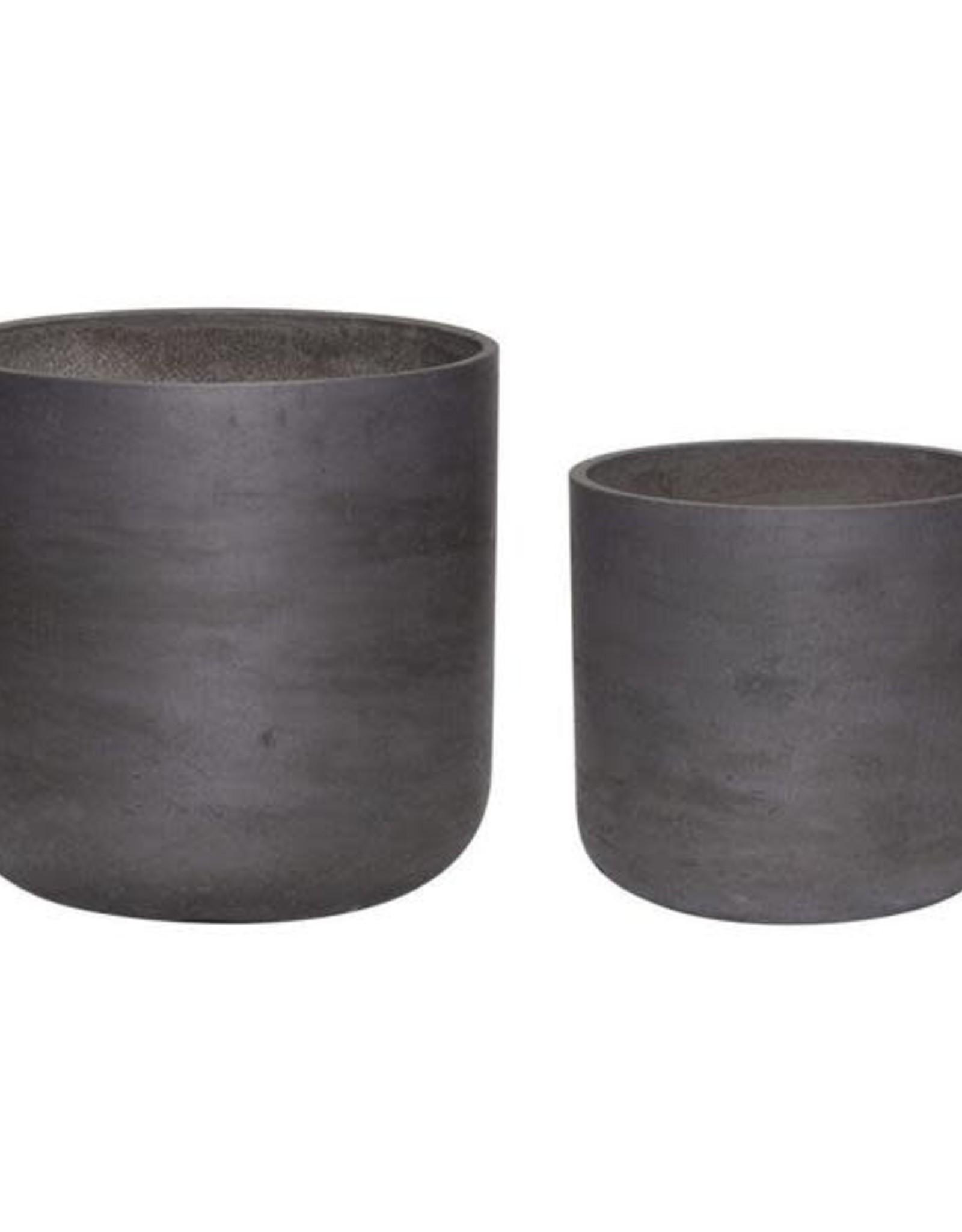 Hübsch Bloempot met drainage gat, cement, zwart ø32xh31cm