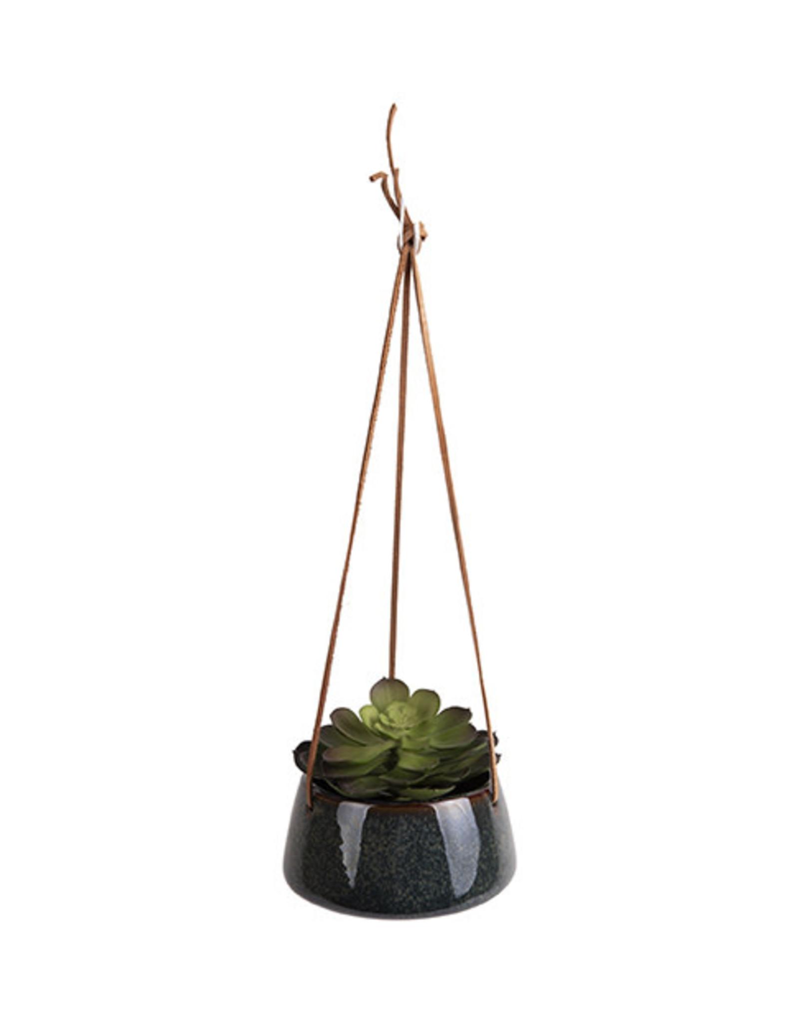 pt Hanging pot Unique Ø12 h8.5 cm - Glazed green