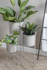 pt Iron planter on stand XL [round] Ø26 h23, total height 77 - Warm grey