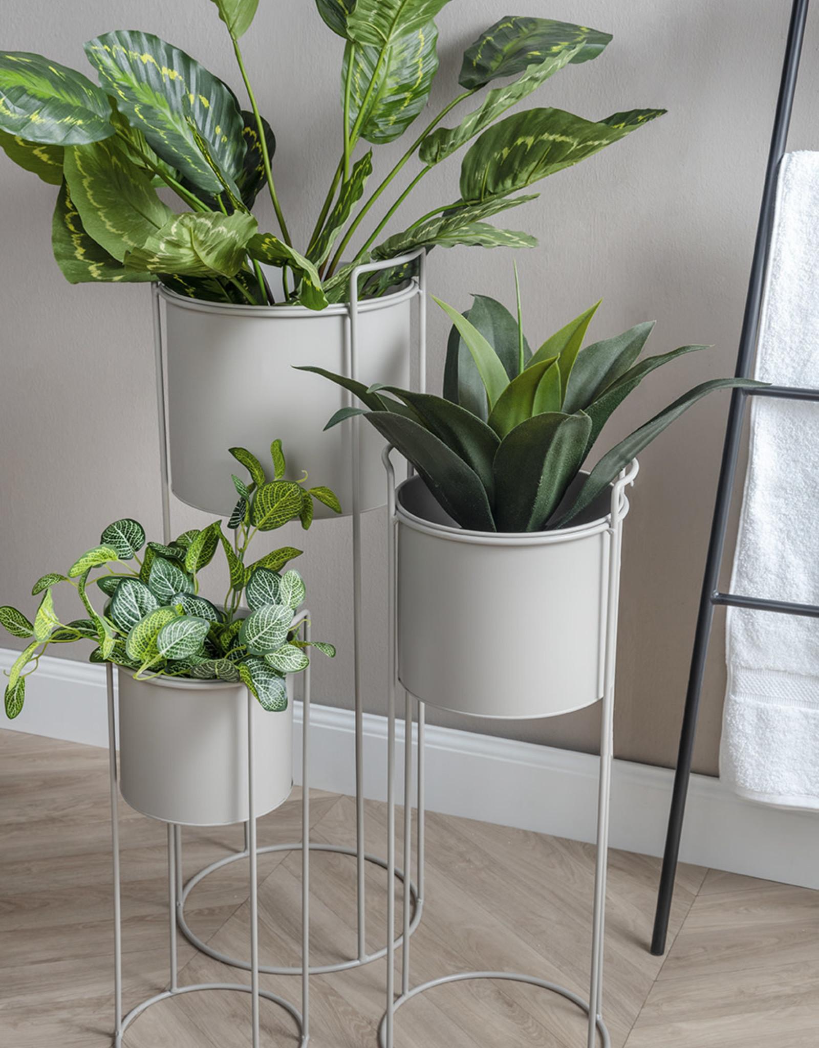 pt Iron planter on stand M [round] Ø17 h16, total height 47 - Warm grey
