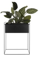 pt Iron planter on stand M [straight] 43 x 19,5 x 55cm - Black