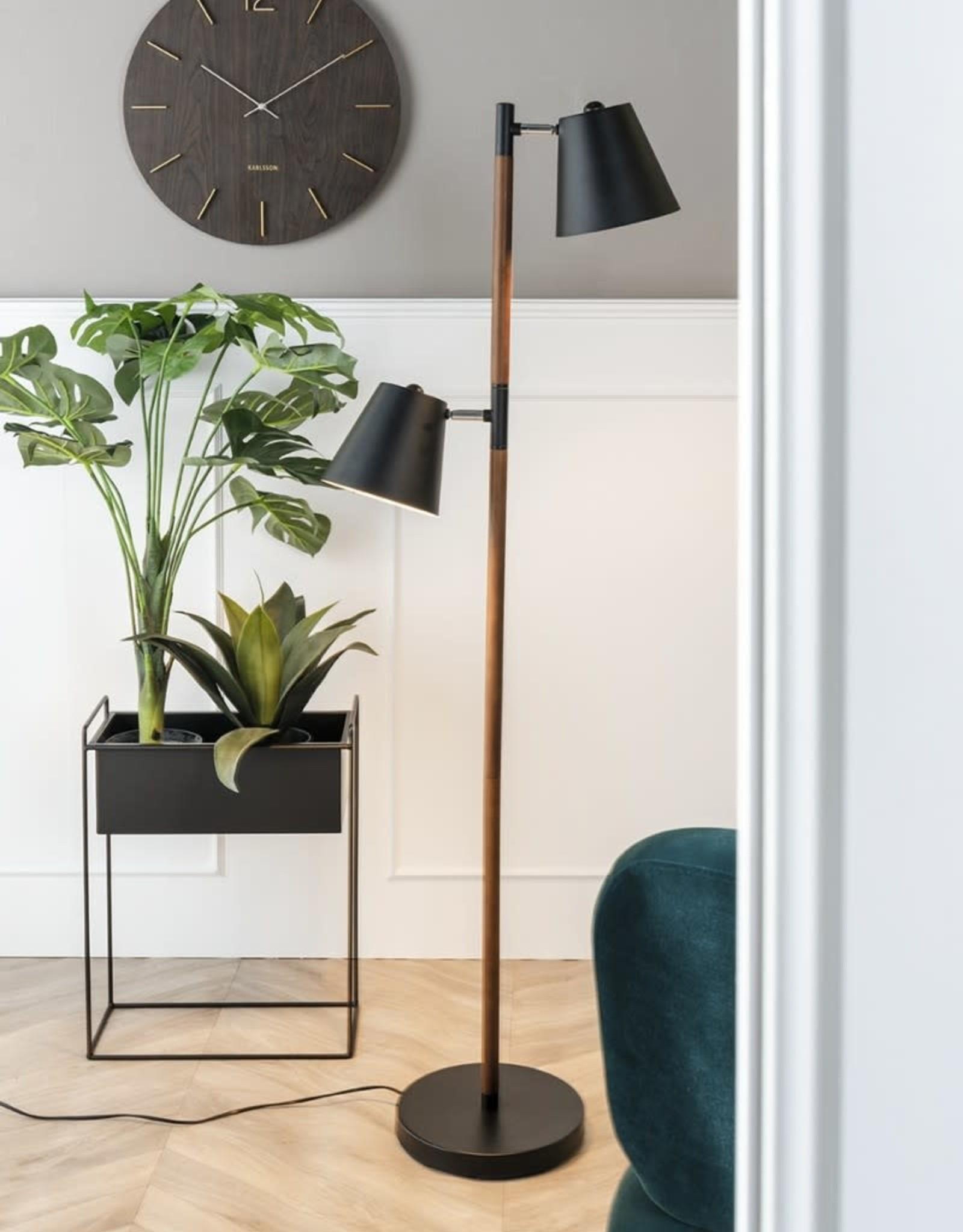 pt Iron planter on stand L [straight] 51 x 24 x 65cm - Black