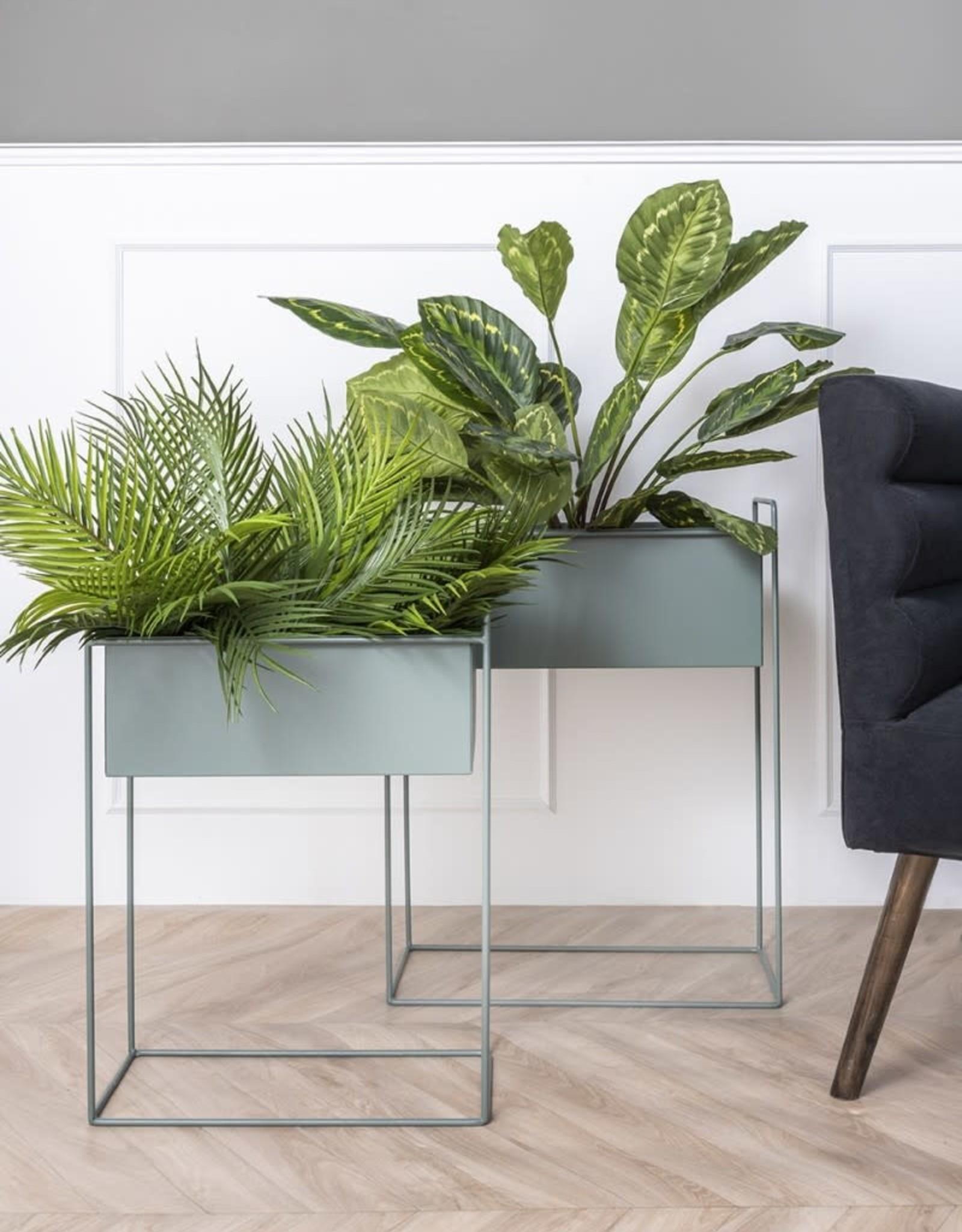 pt Iron planter on stand M [straight] 43 x 19,5 x 55cm - Jungle green
