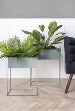 pt Iron planter on stand L [straight] 51 x 24 x 65cm - Jungle green