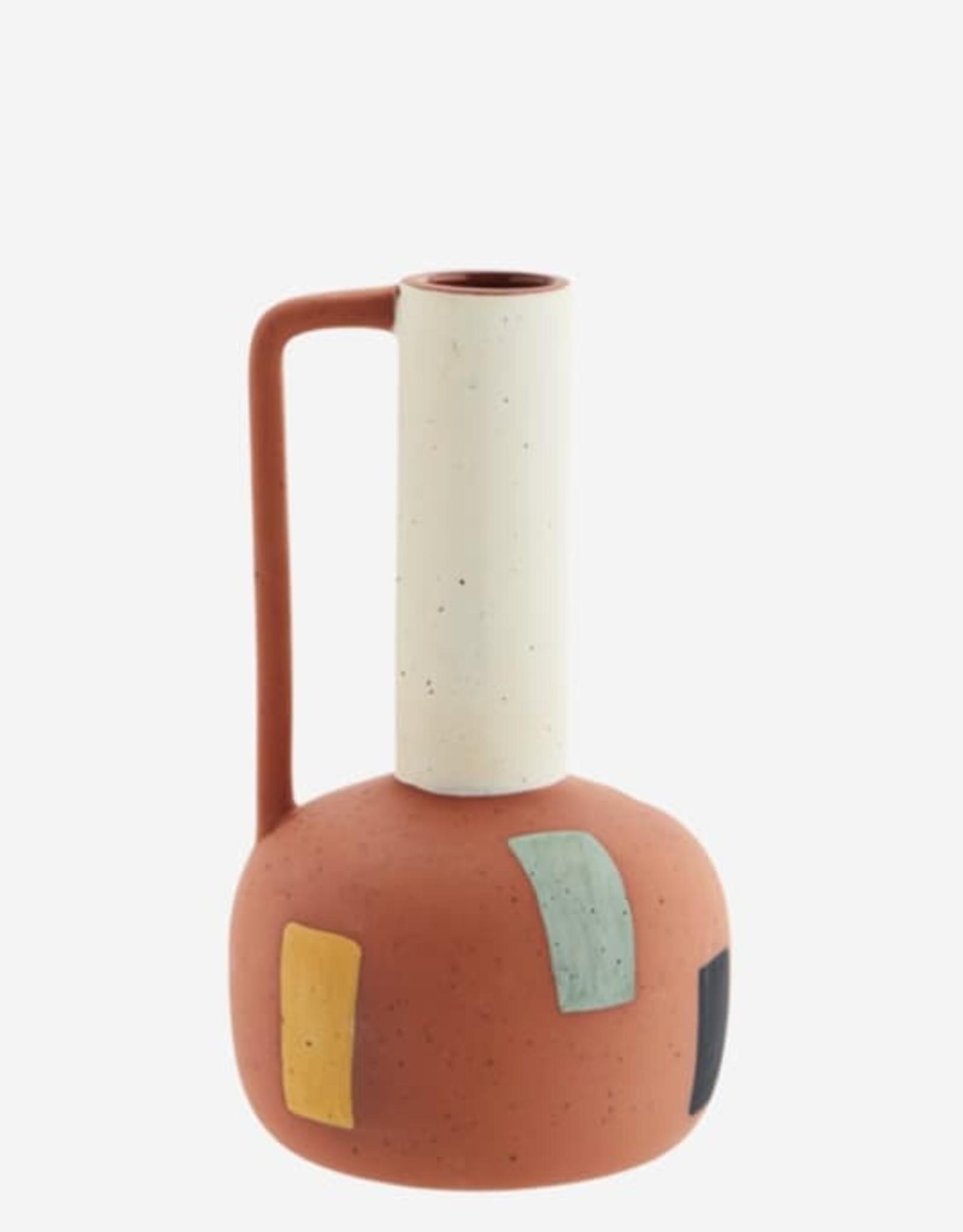 Madam Stoltz Terracotta vaasje met handvat Ø3 h21 cm