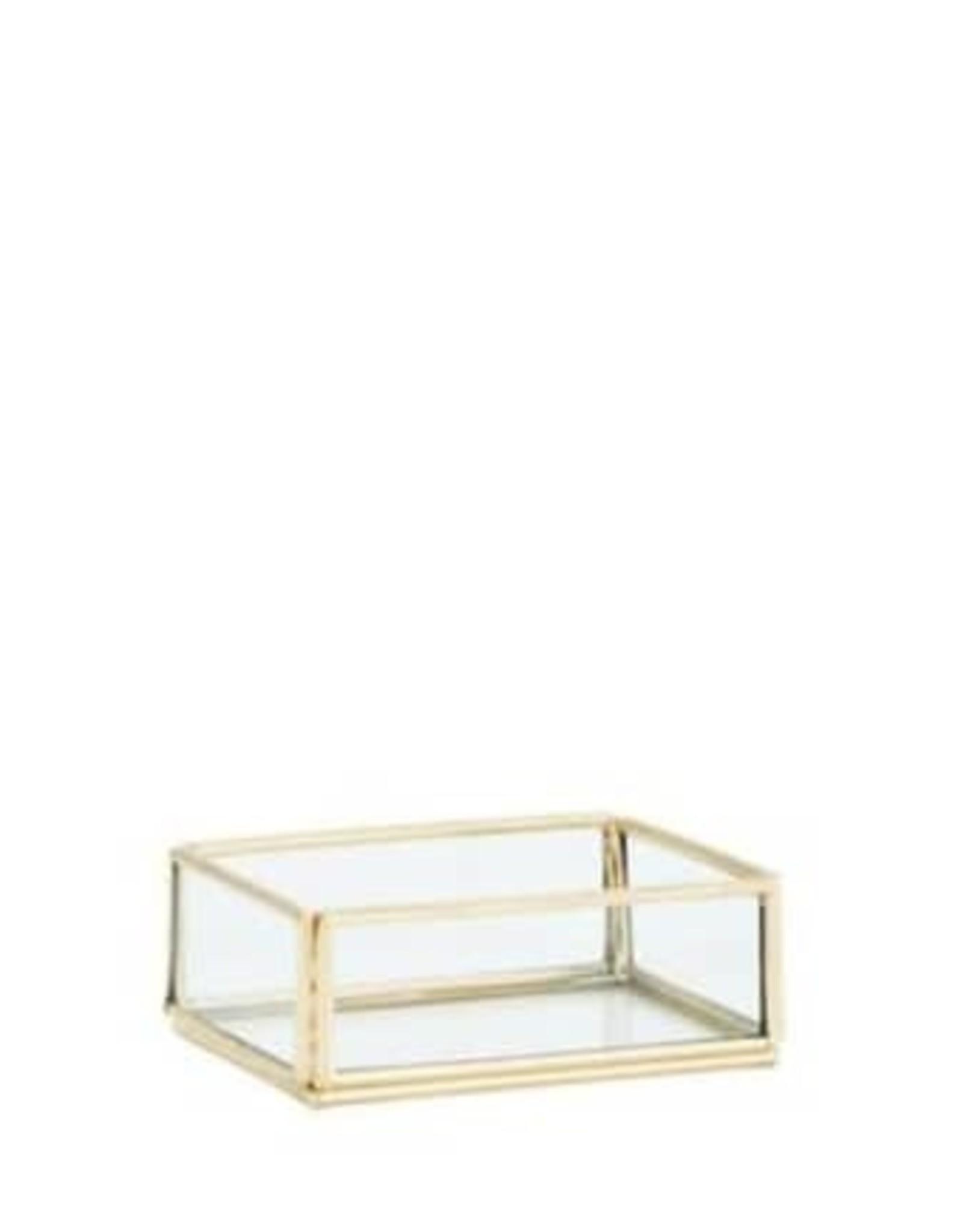Madam Stoltz Rechthoekig glazen/ijzeren schaaltje 9 x 6.5 x 3 cm - Messing