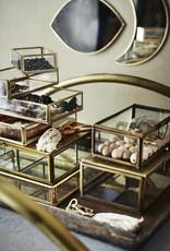Madam Stoltz Rectangular glass/iron tray 9 x 6.5 x 3 cm - Brass