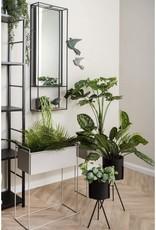 pt Iron planter on stand M [straight] 43 x 19,5 x 55cm - Warm grey
