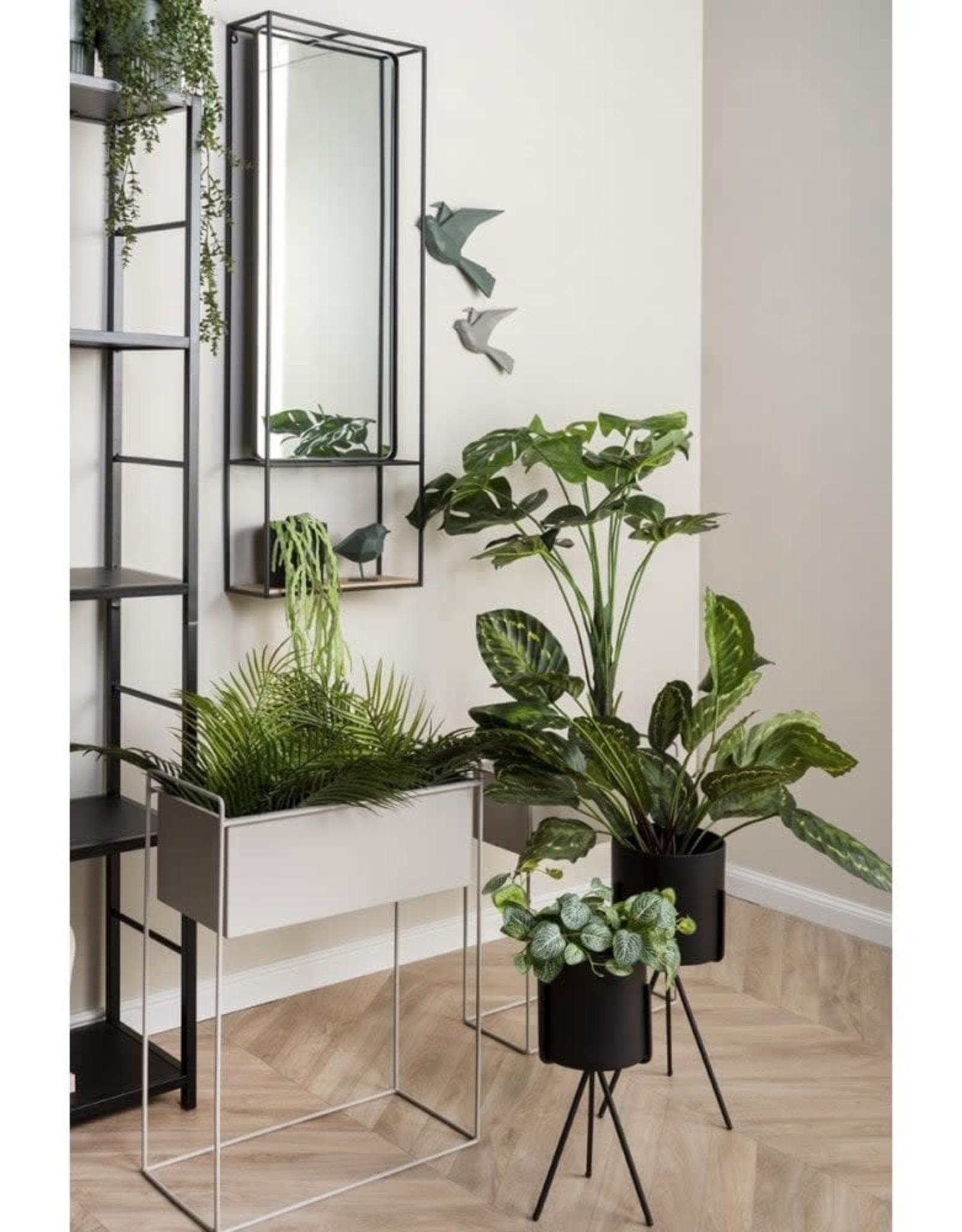 pt Iron planter on stand L [straight] 51 x 24 x 65cm - Warm grey