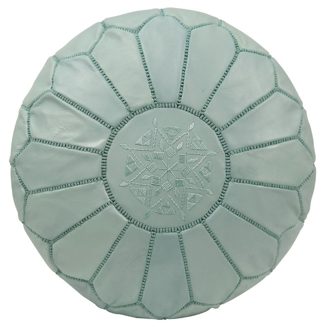 Moroccan Leather Pouf Minty Green