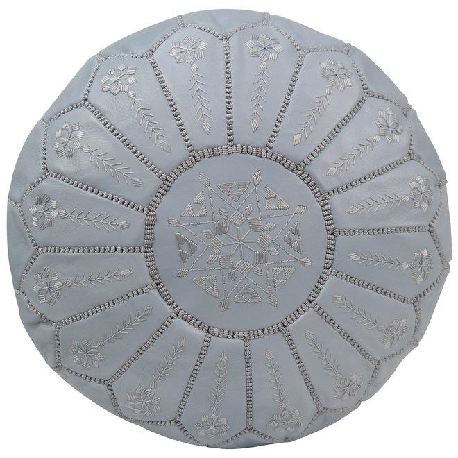 Marokkaanse Leren Poef Ice Grey