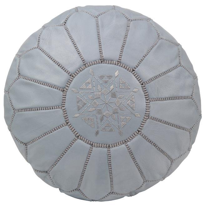 Marokkaanse Leren Poef Ice Grey Simplistic