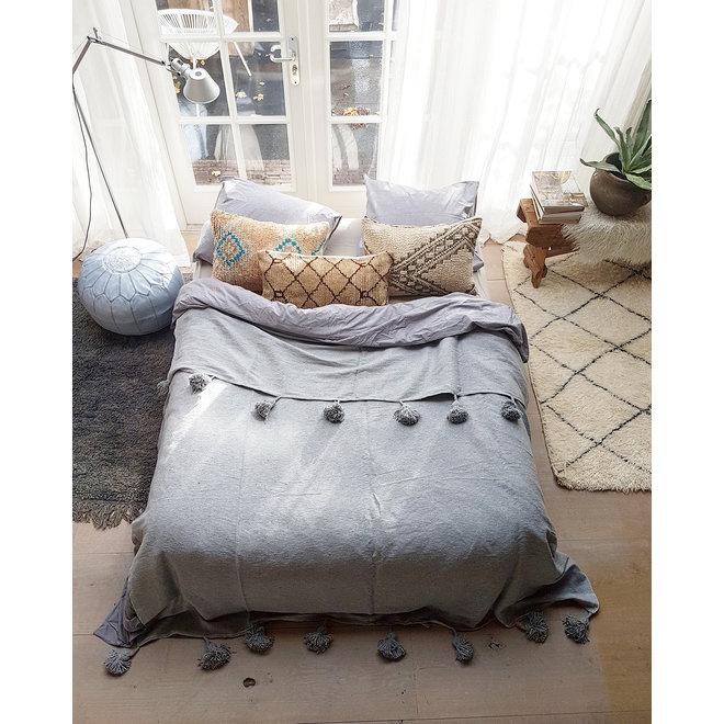 Marokkaanse pom pom deken grijs XL