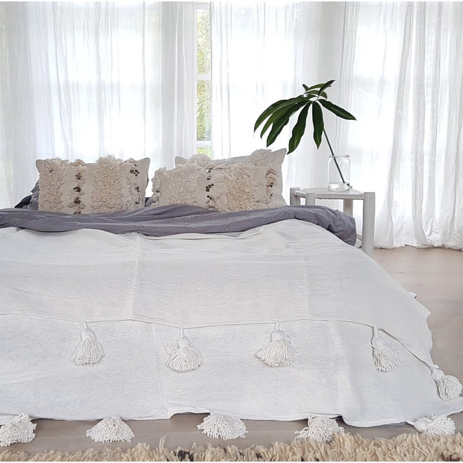 Marokkaanse pom pom deken XL off-white