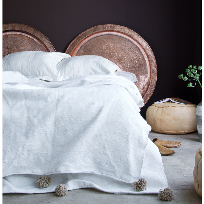 Blanket from Morocco with pom poms XL white-beige
