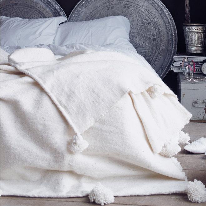 Marokkaanse pom pom deken XL ivoor crème wit