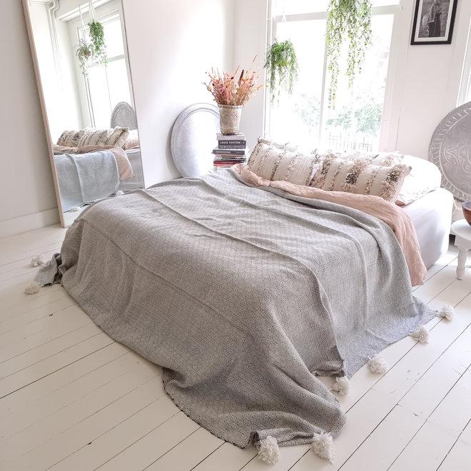 Moroccan blanket white grey with pom poms