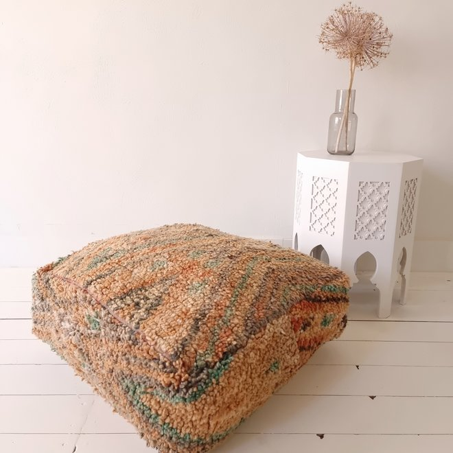 Moroccan Floor Pillow Orange Turquoise