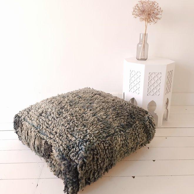 Moroccan Floor Pillow Grey Blue